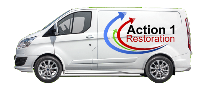 Action 1 Restoration van there when you need us banner