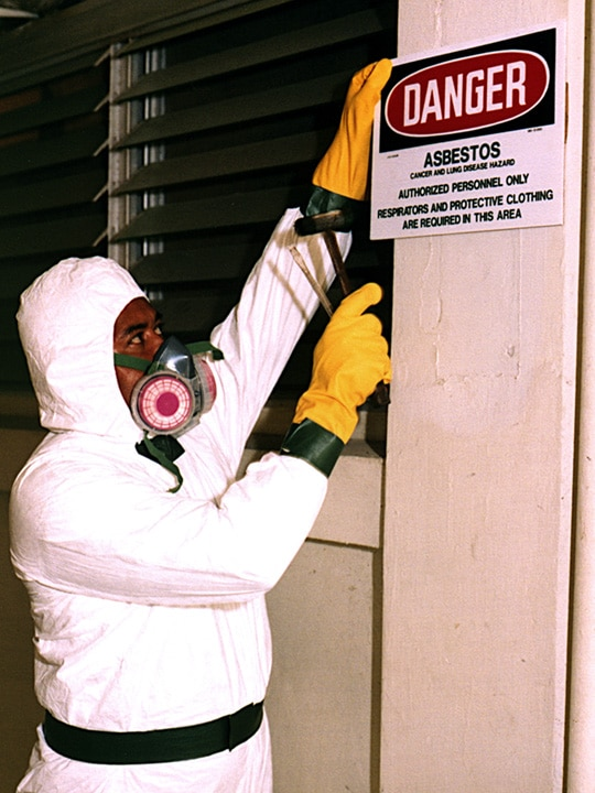 Asbestos biohazard warning
